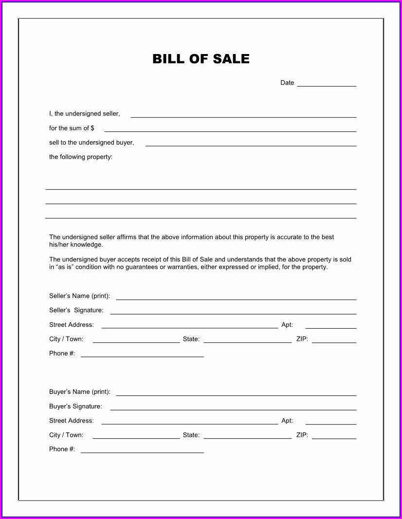 Blank Bill Of Sale Template Word