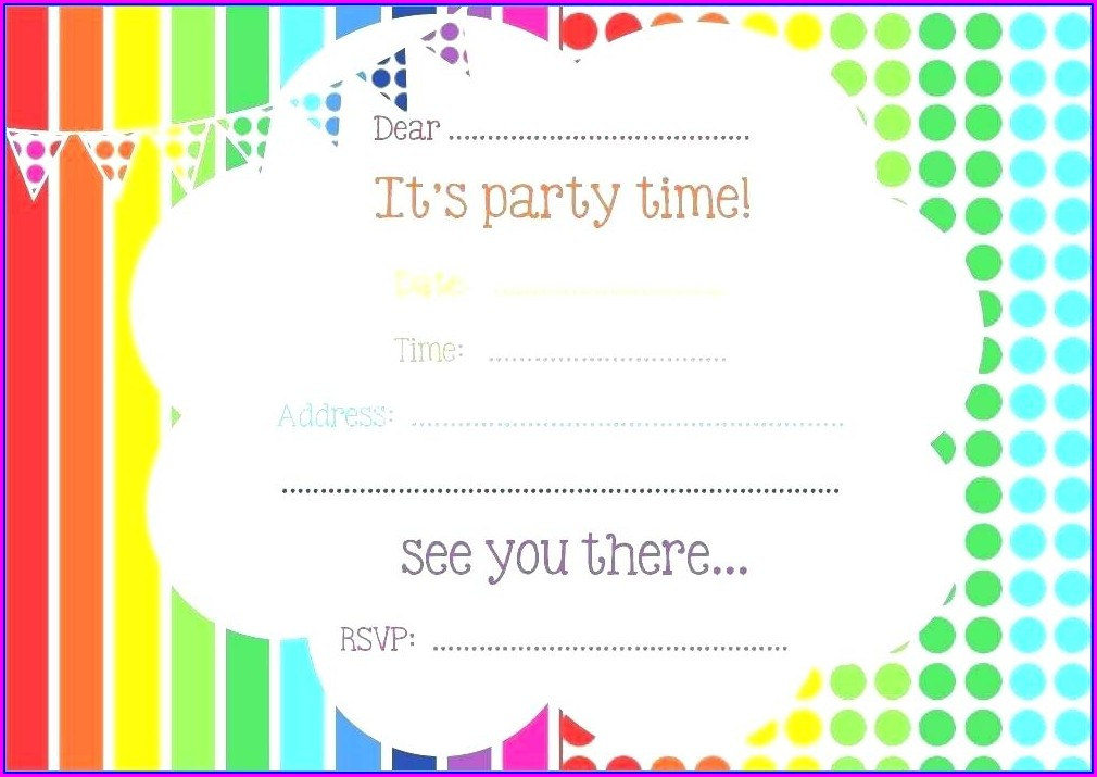 Blank Birthday Invitation Template For Teenagers