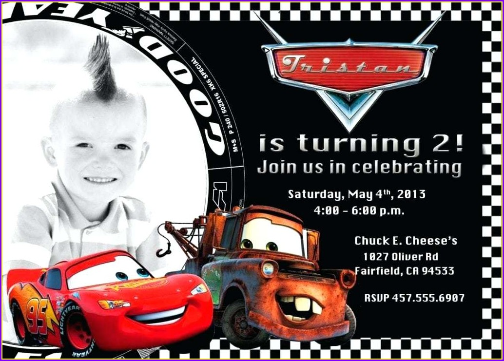 Blank Cars Birthday Invitation Template Free