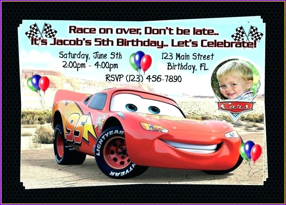 Blank Cars Birthday Invitation Template