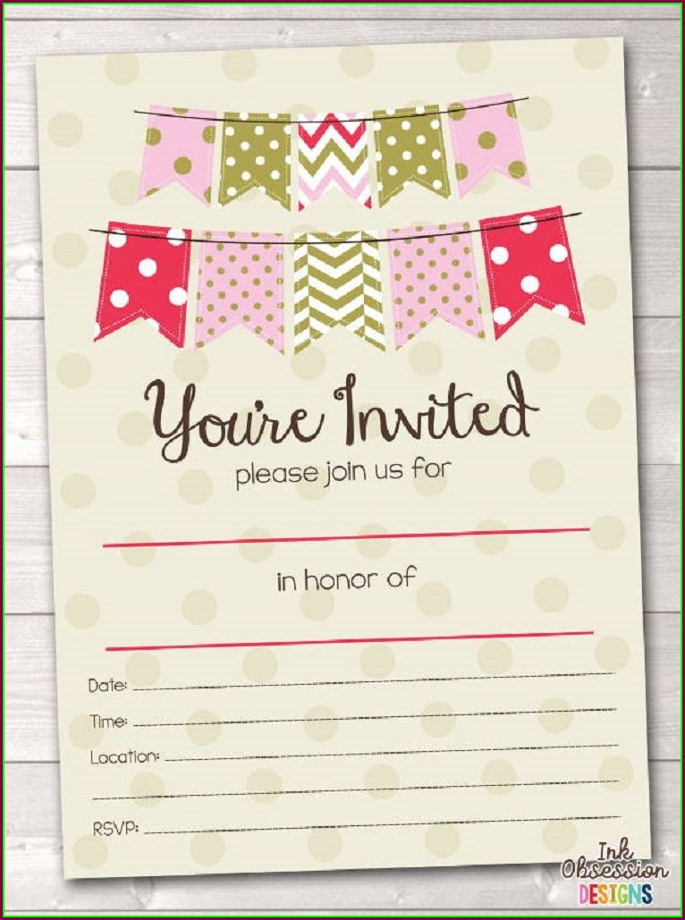 Blank Cocktail Party Invitation Template