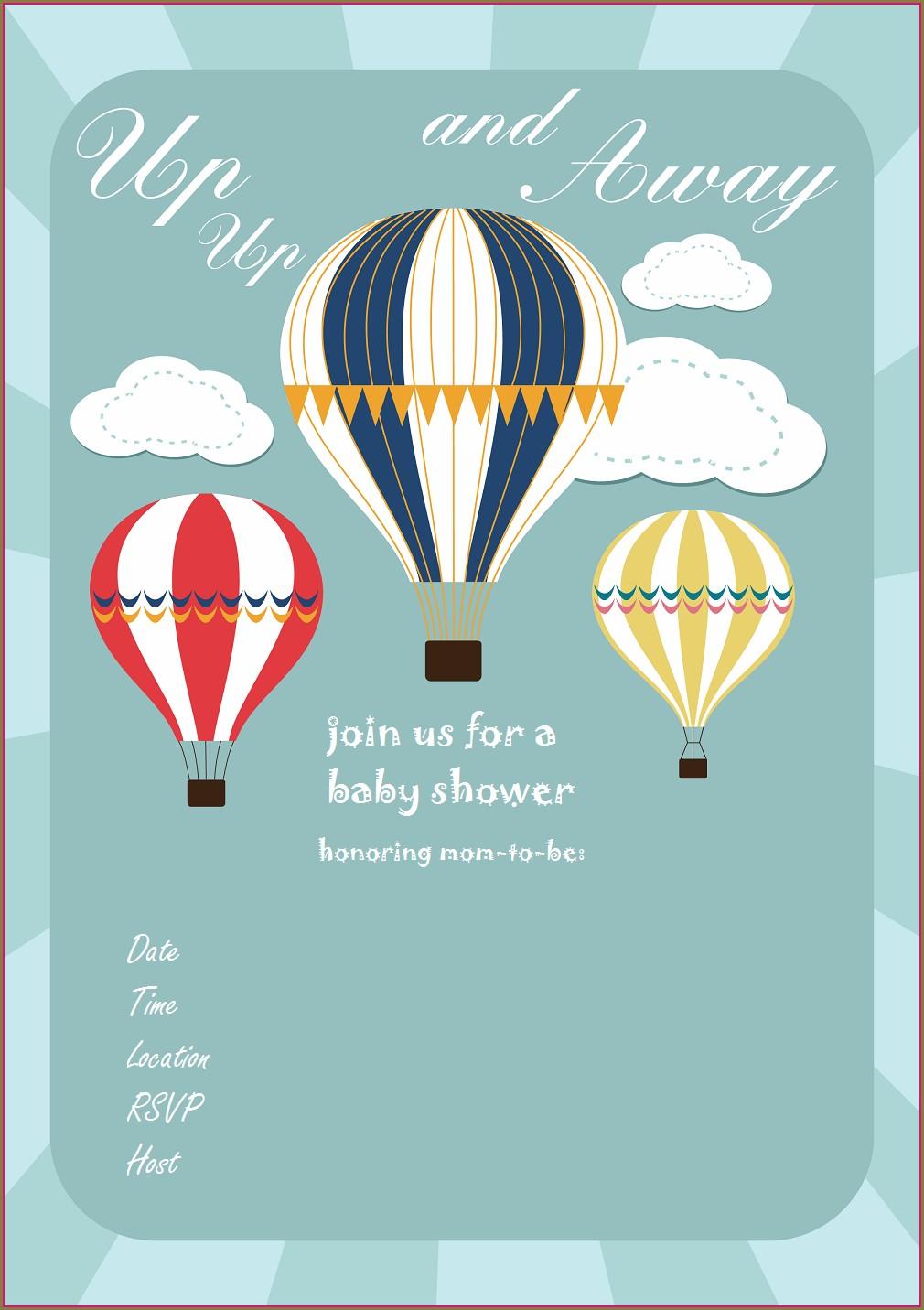Blank Hot Air Balloon Invitation Template