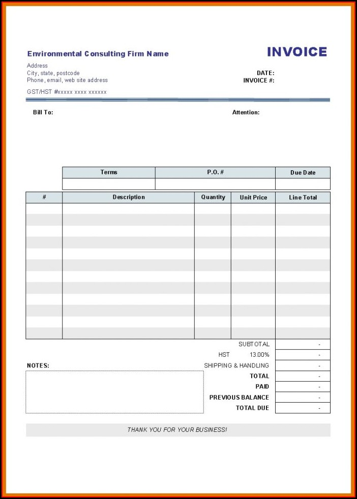 Blank Invoice Template Word Download Free