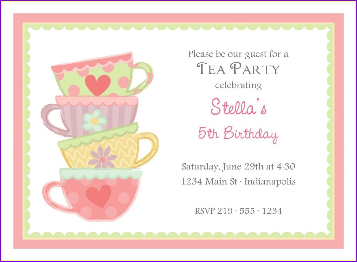 Blank Mad Hatter Tea Party Invitations Templates Free