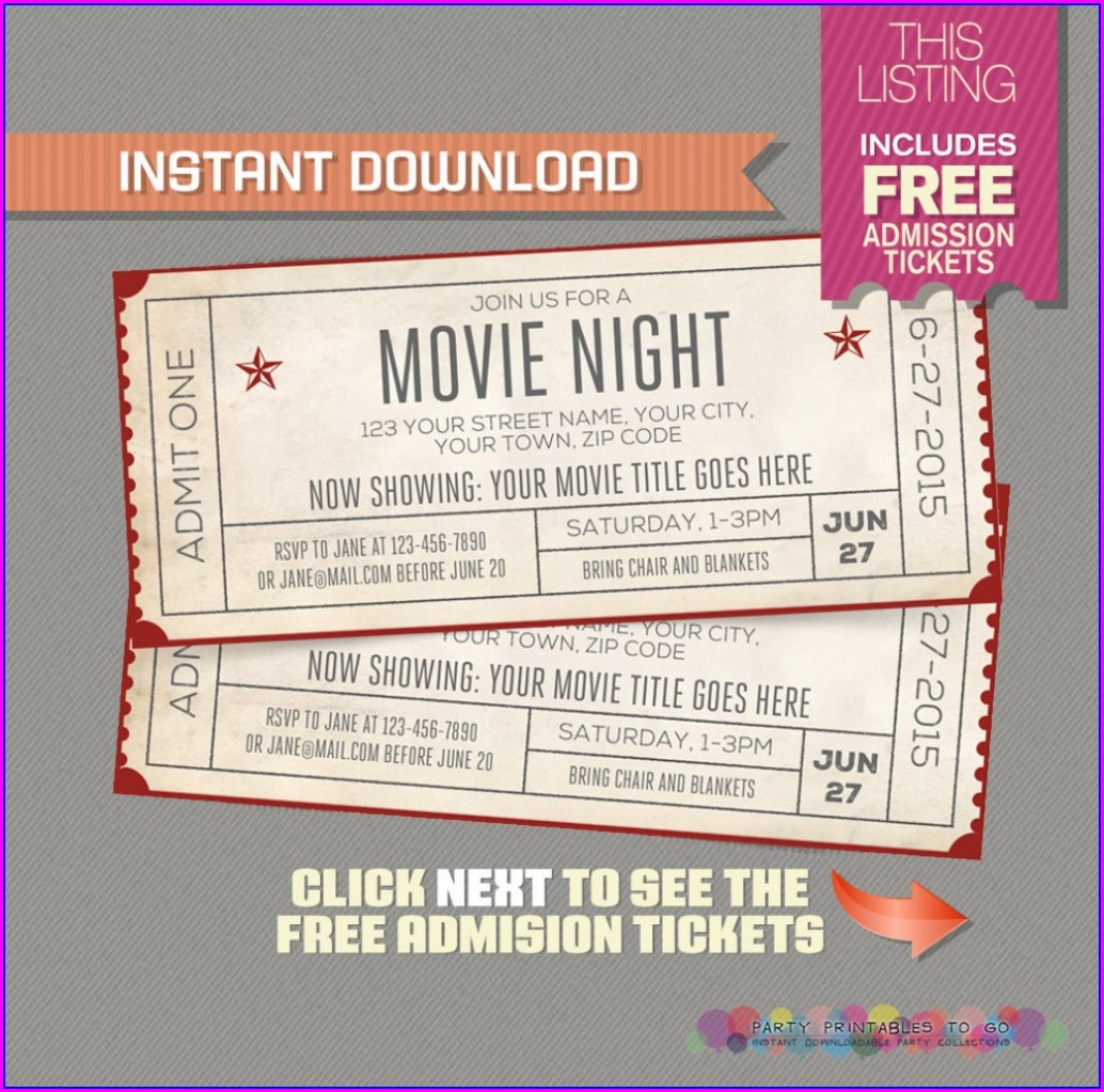 Blank Movie Night Invitation Template Free