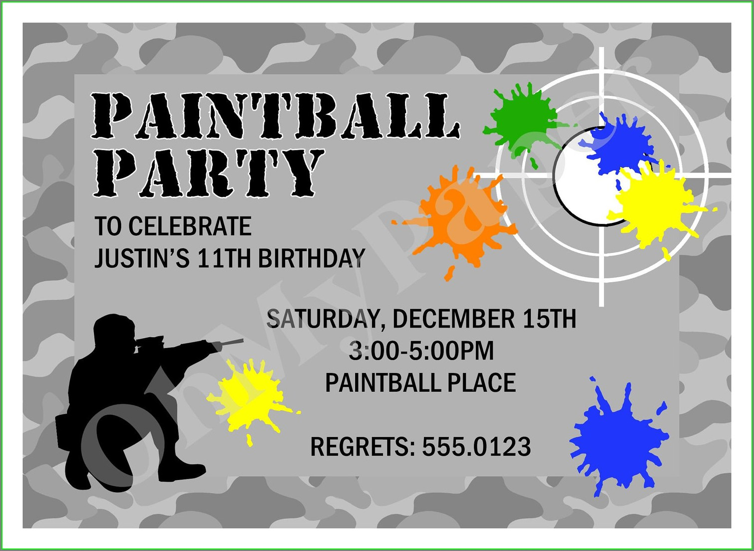 Blank Paintball Invitation Template