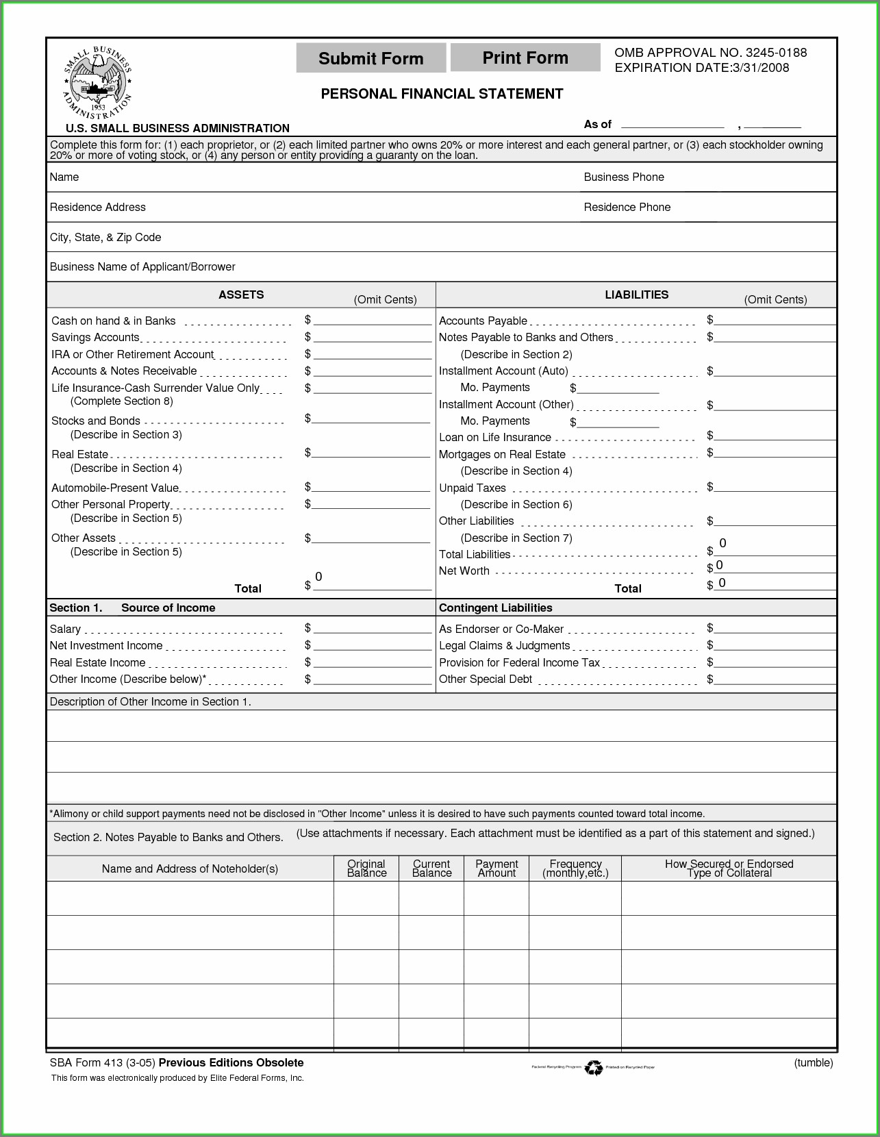 Blank Personal Financial Statement Template