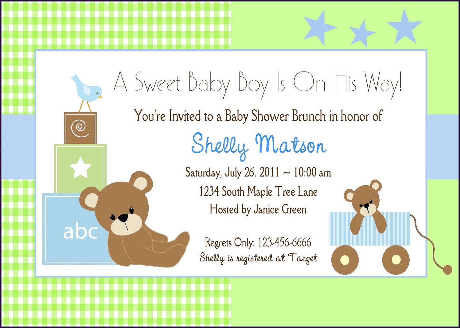 Blank Teddy Bear Invitation Template Free