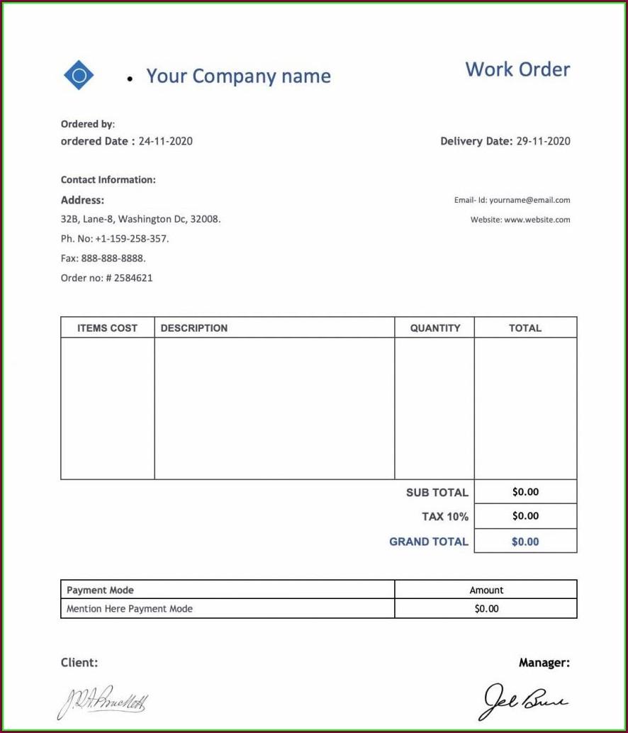 Blank Work Order Template Pdf