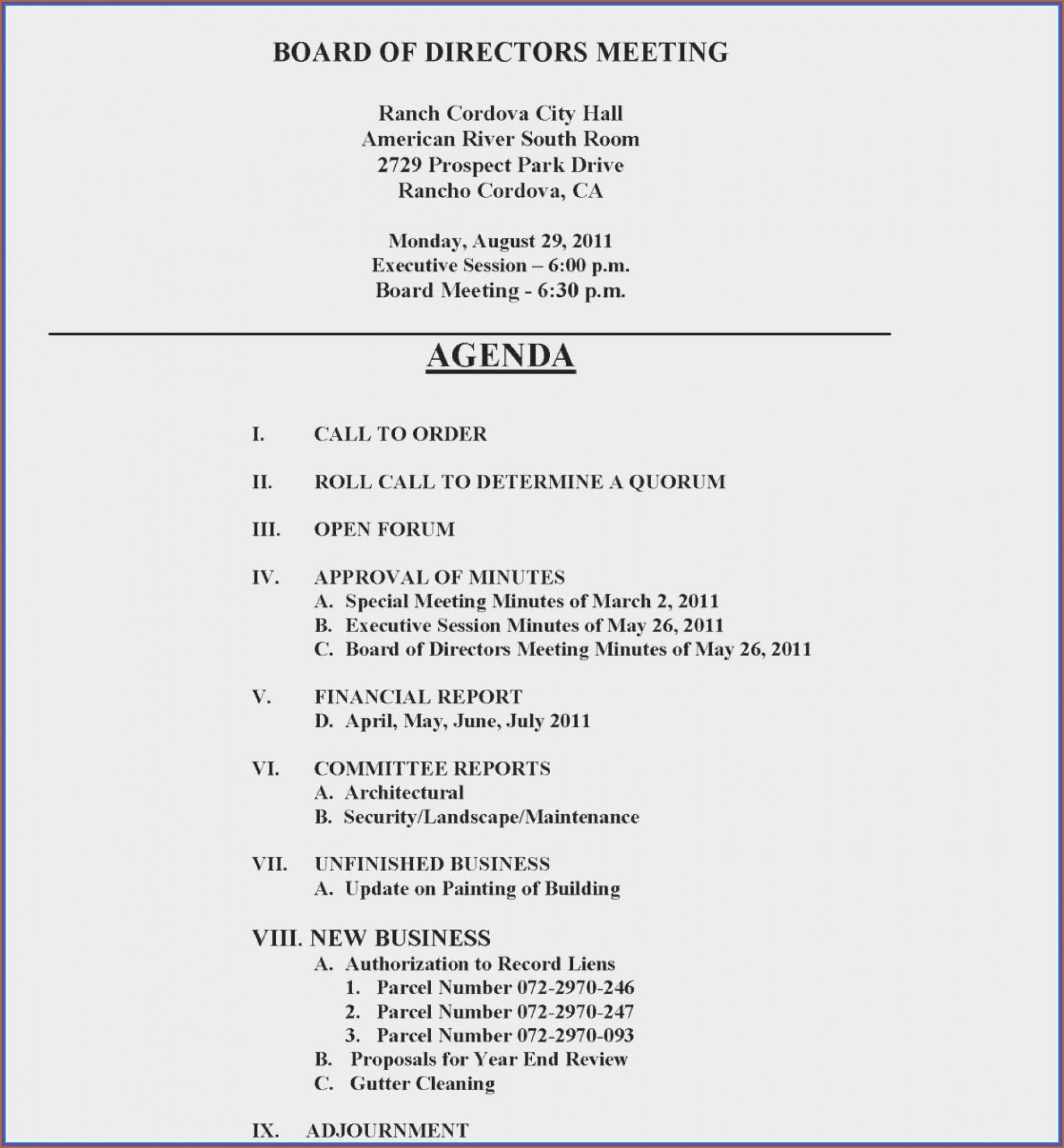 Board Meeting Minute Template