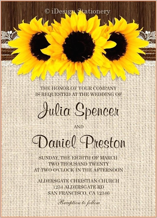 Border Sunflower Invitation Template