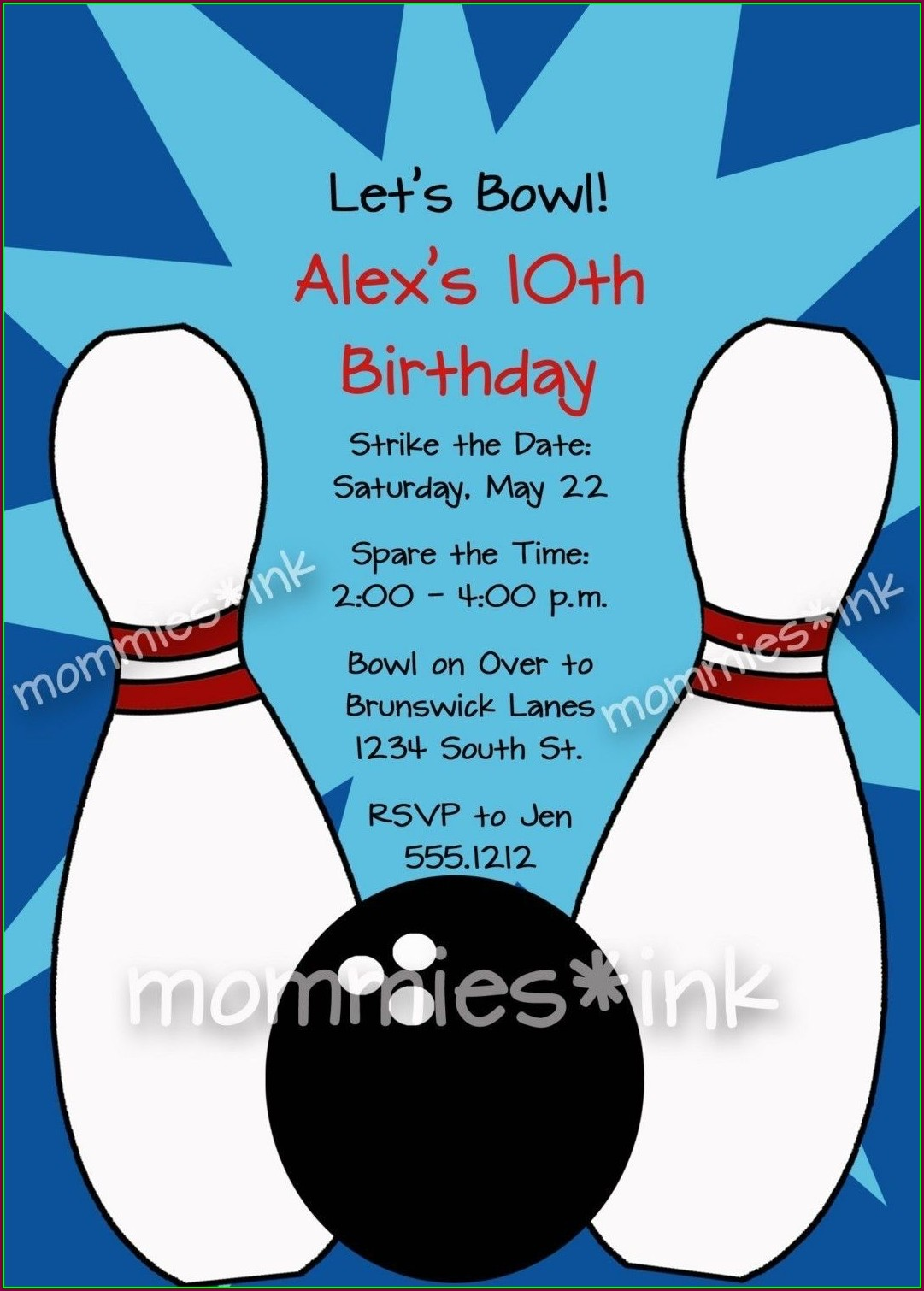 Bowling Birthday Party Invitation Template Free