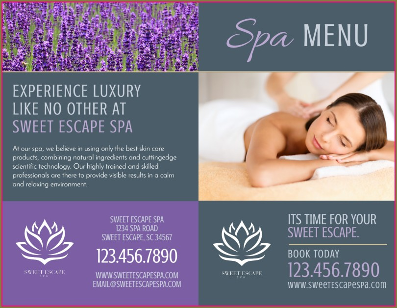 Brochure Spa Menu Template