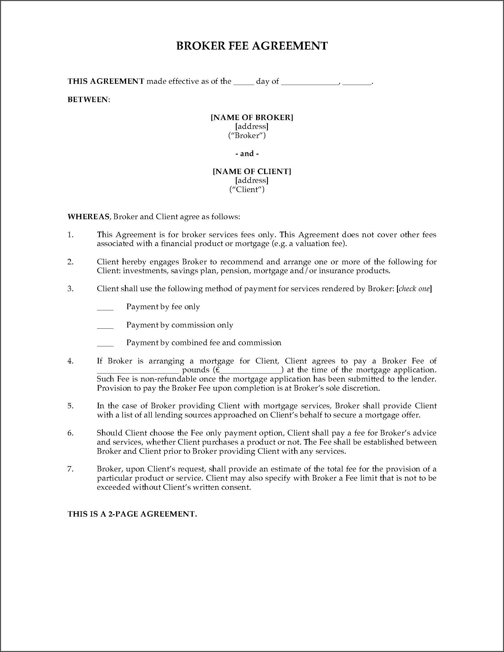 Broker Fee Agreement Template