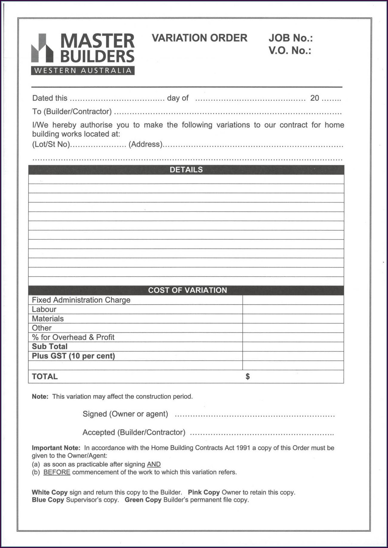 Builders Contracts Templates