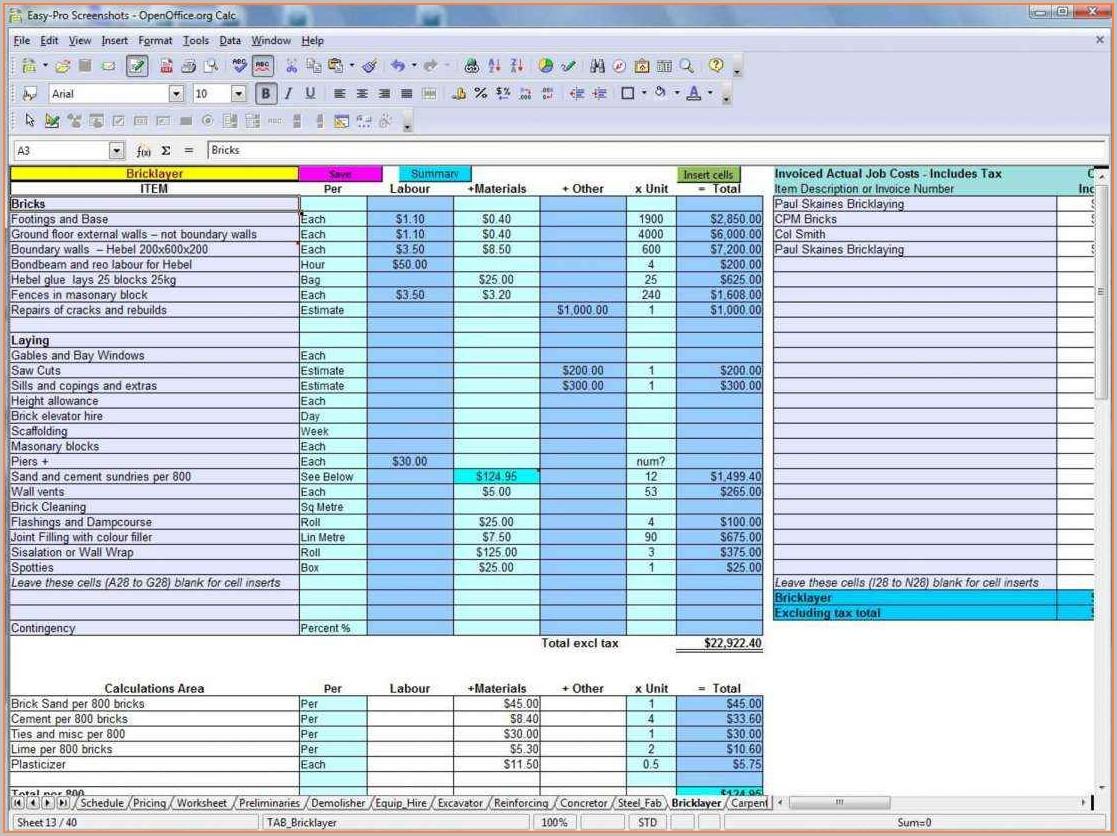 Builders Estimate Template Uk