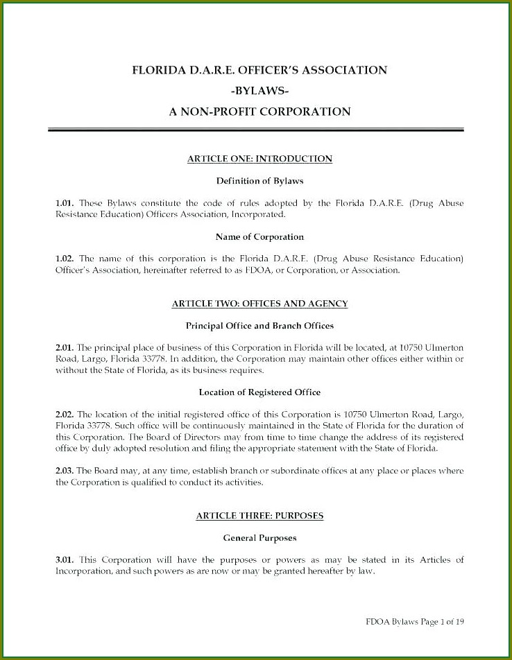 Bylaws Template For Nonprofit Organization