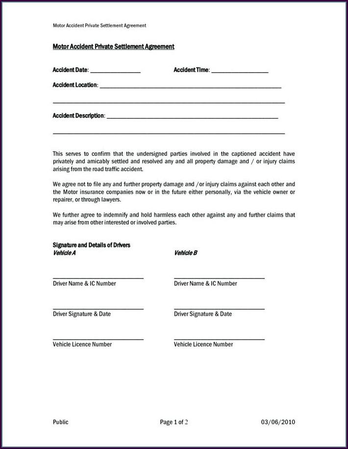 Car Accident Settlement Agreement Template