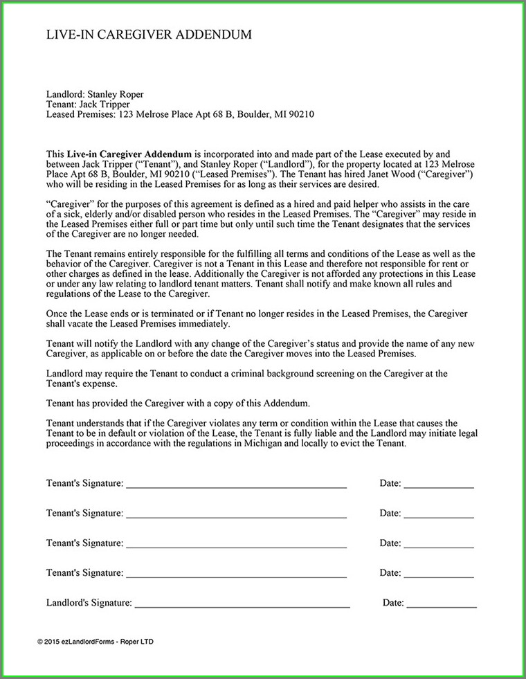 Caregiver Agreement Caregiver Contract Template