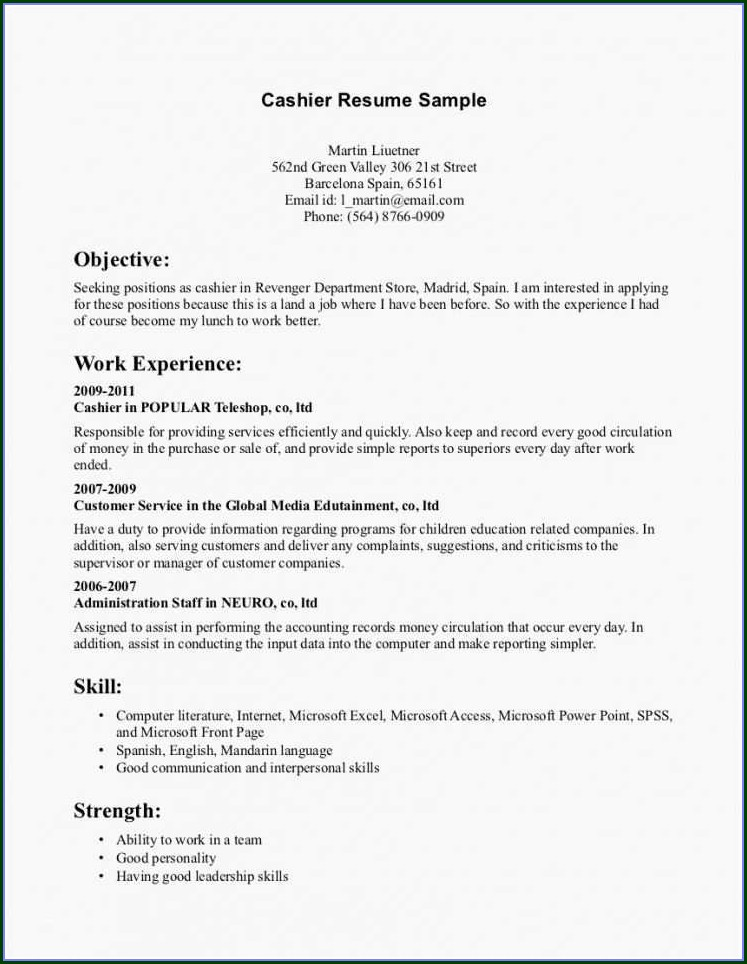 Cashier Resume Templates Free