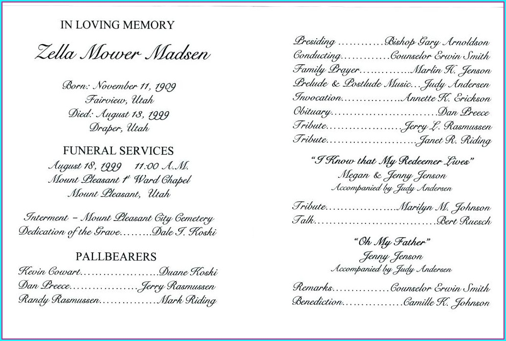 Catholic Funeral Mass Program Template Free