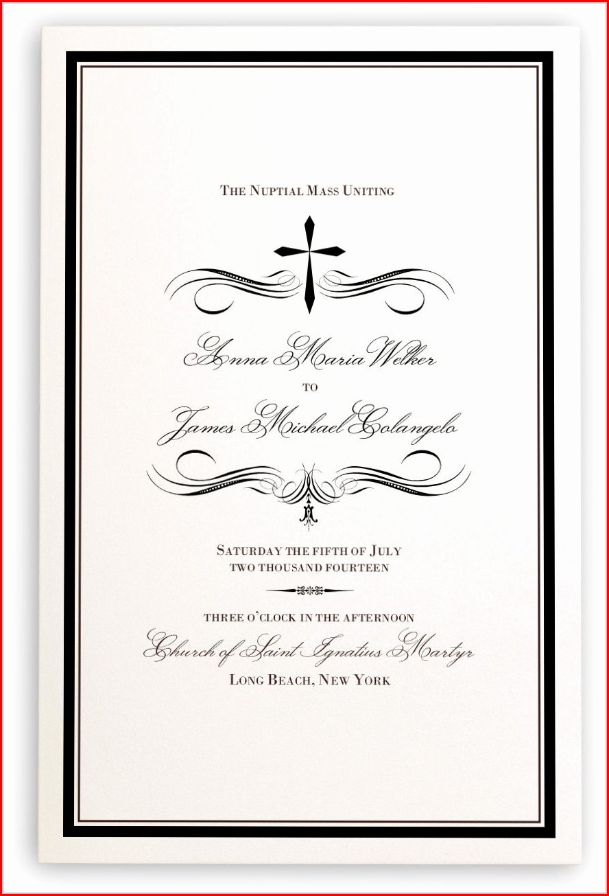 Catholic Wedding Mass Program Template