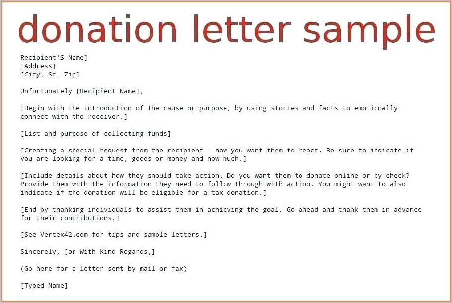 Charity Letter Template Asking For Donations