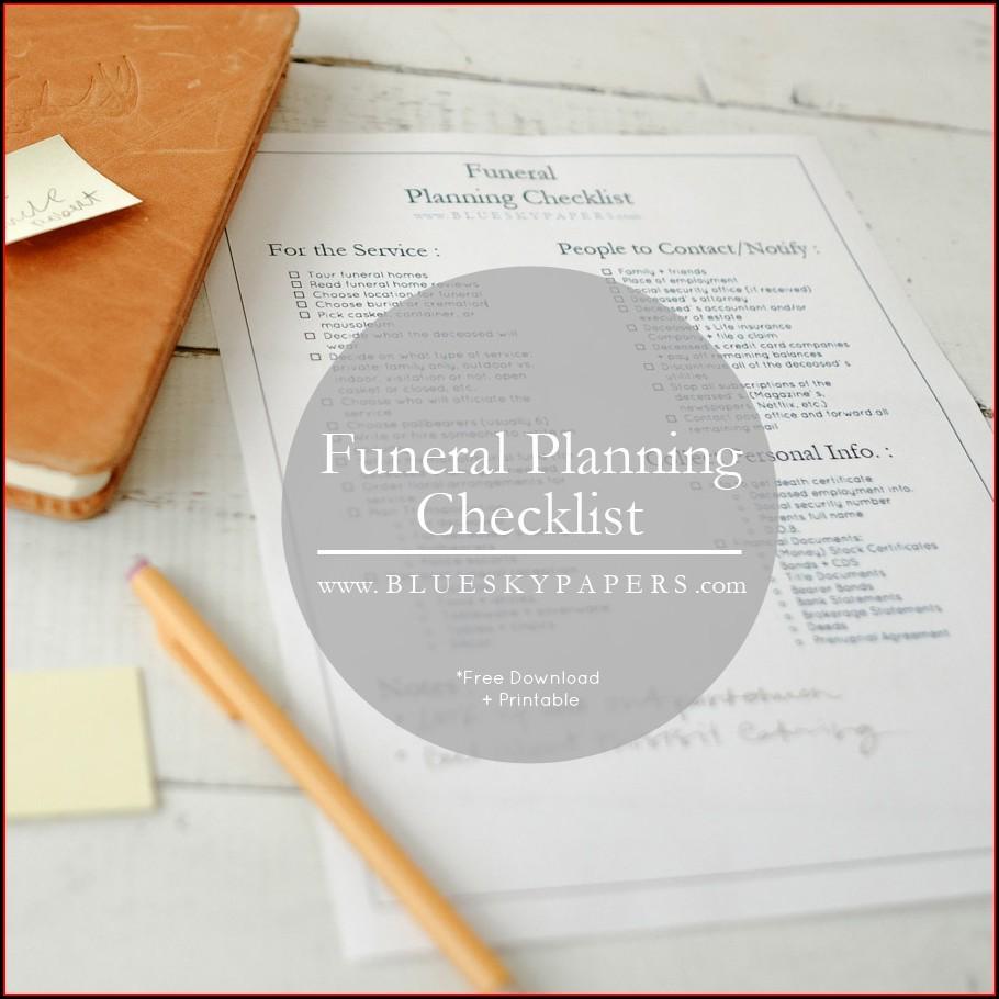 Checklist Template Funeral Planning Checklist Pdf