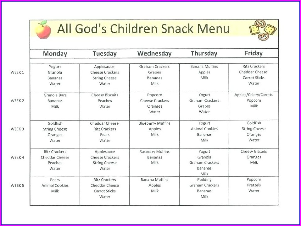 Childcare Menu Templates Free