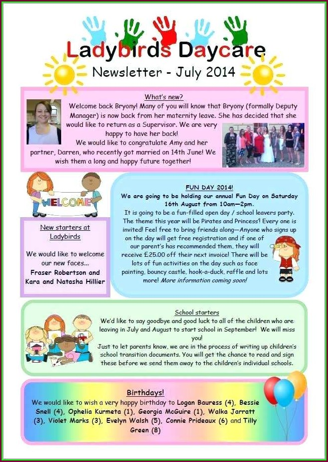 Childcare Newsletter Templates Free