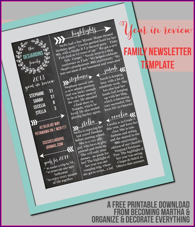 Christmas Family Newsletter Templates Free