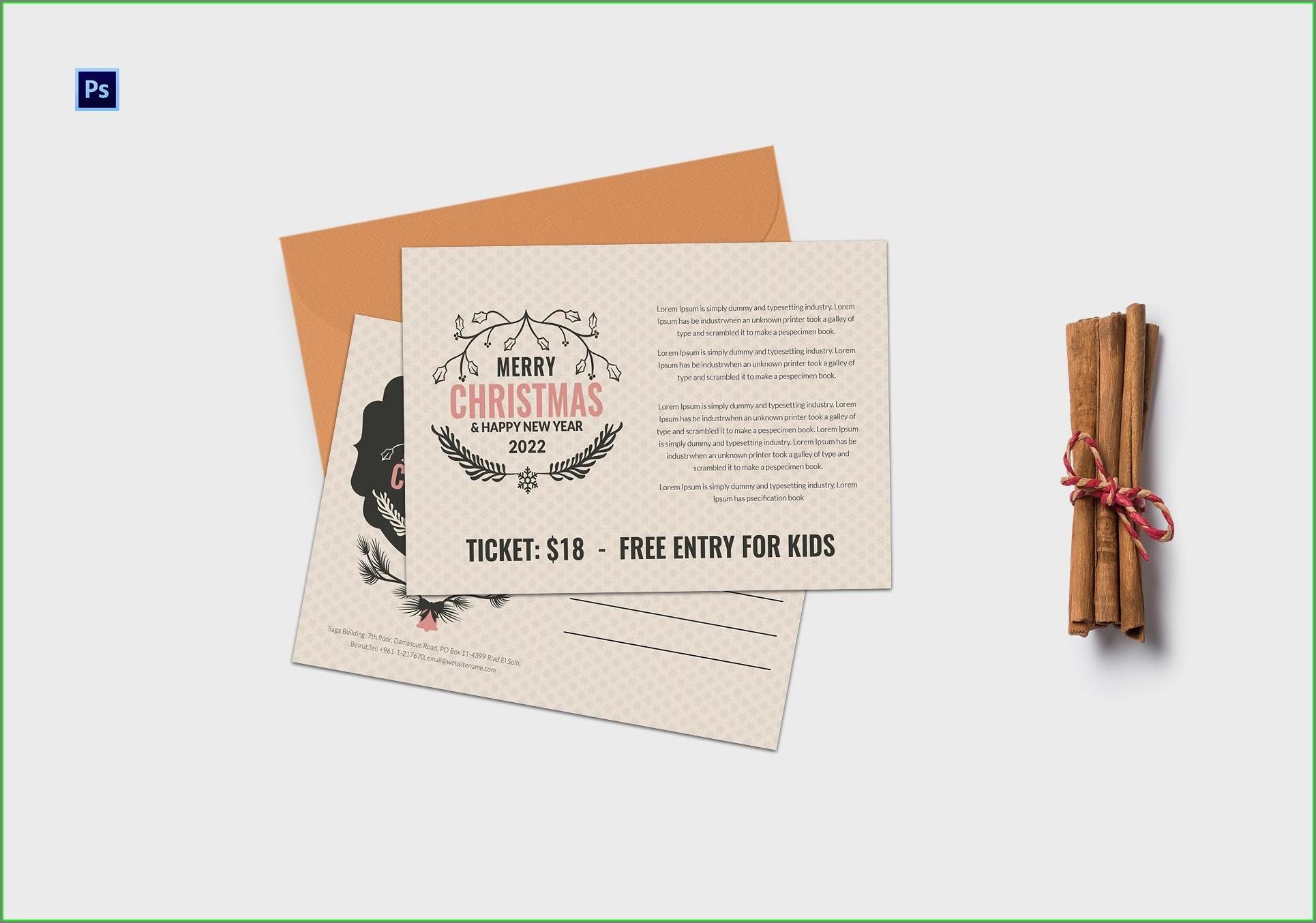 Christmas Invitation Postcard Template