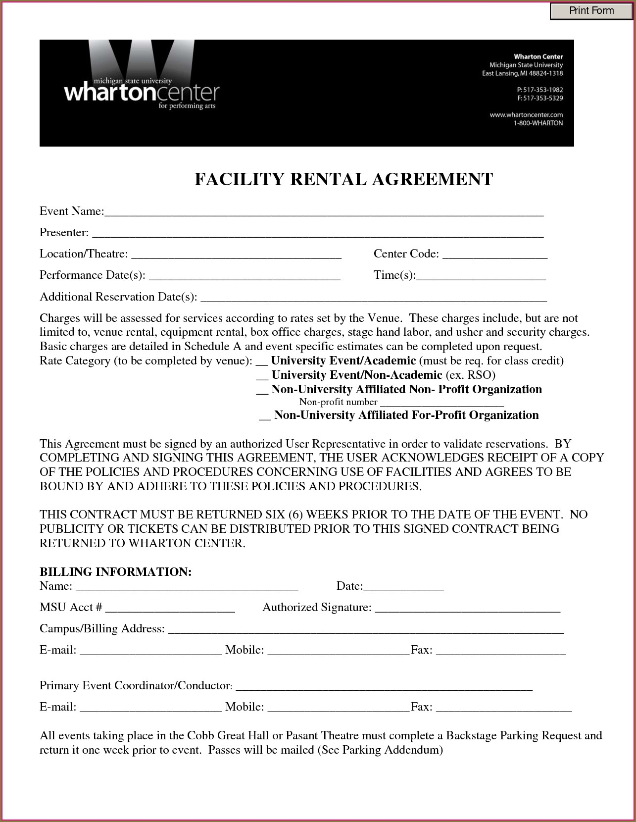 Church Hall Rental Agreement Template