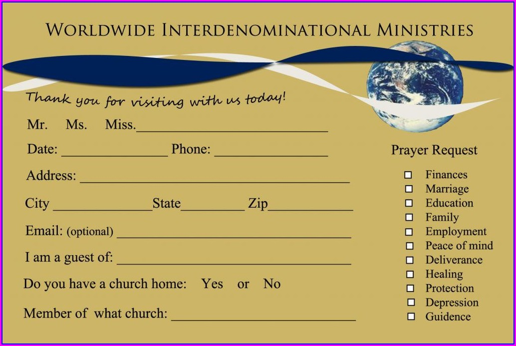Church Welcome Card Template