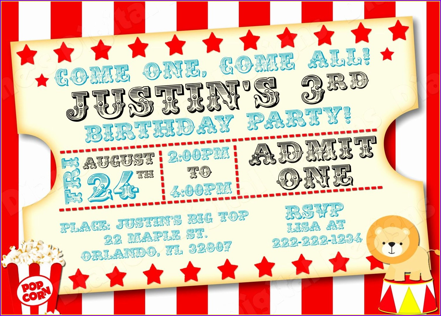Circus Ticket Invitation Template Free