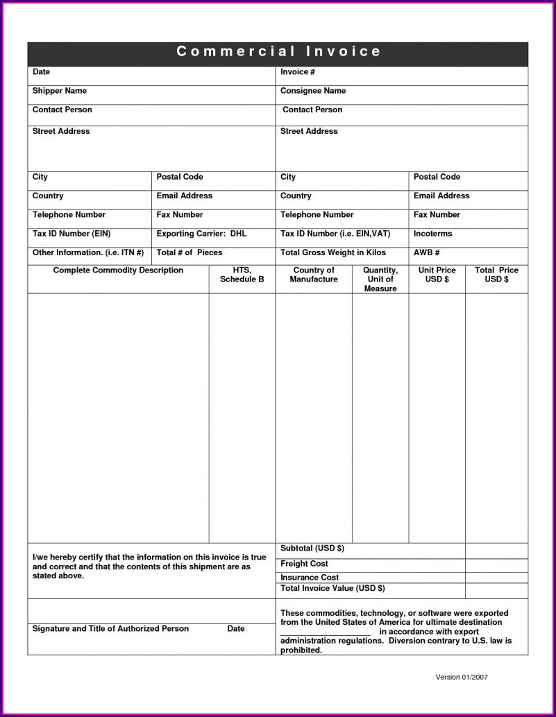 Commercial Invoice Template Uk