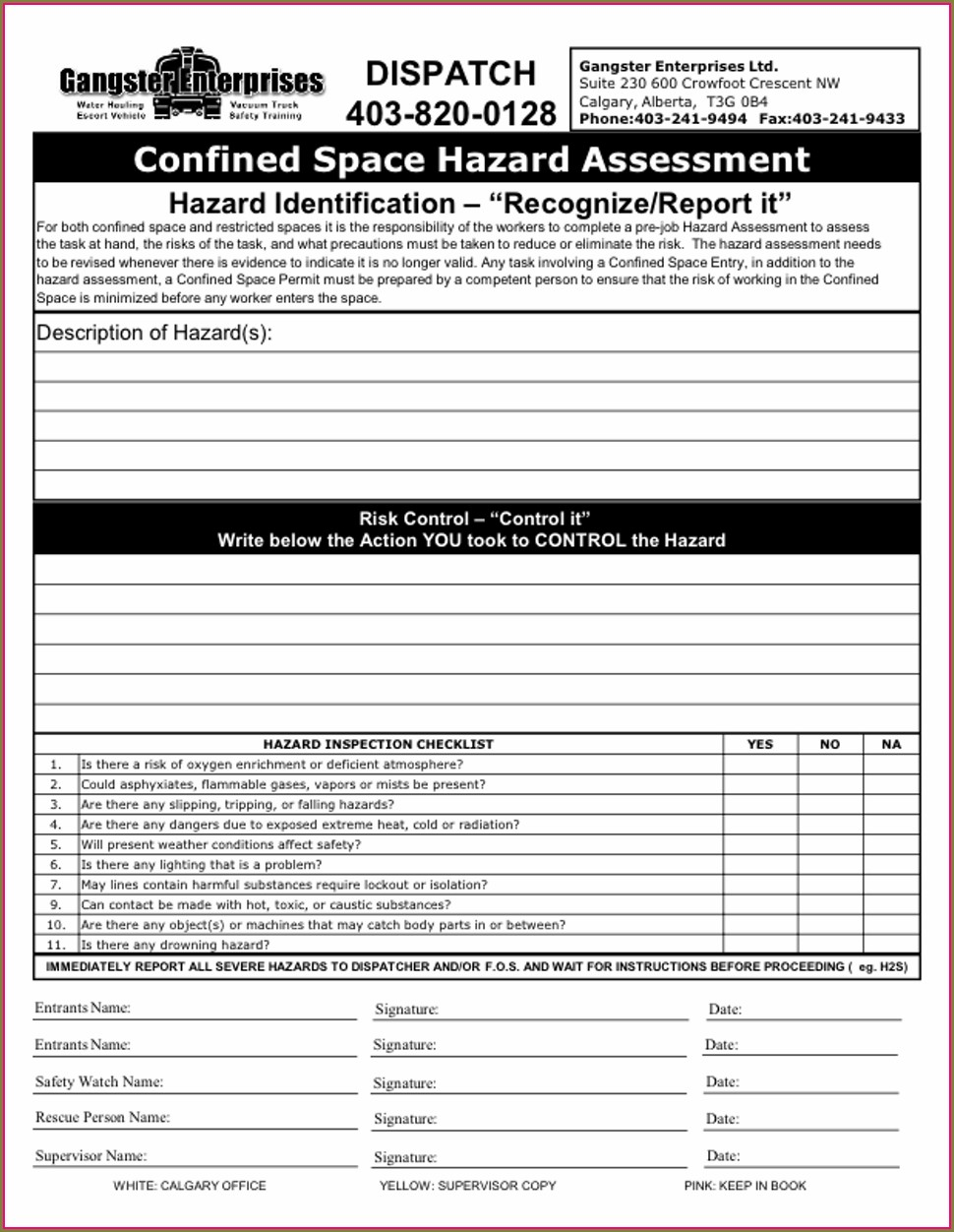 Confined Space Entry Permit Alberta Template