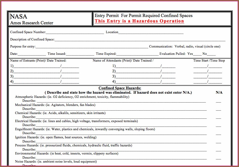 Confined Space Entry Permit Template