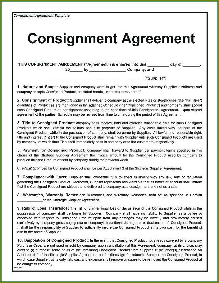 Consignment Stock Agreement Template Australia