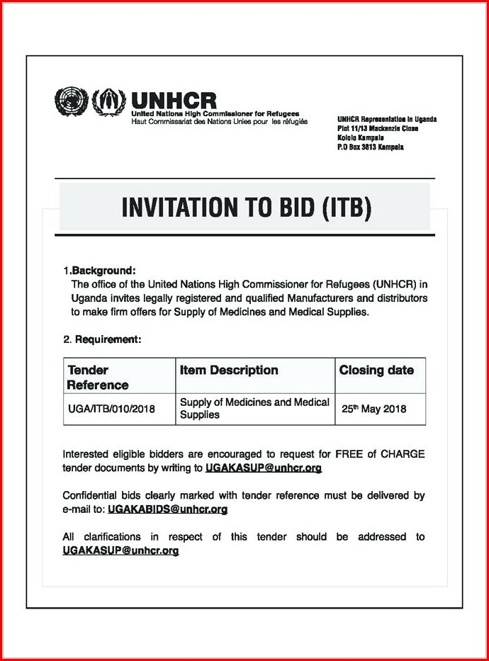 Construction Invitation To Bid Template