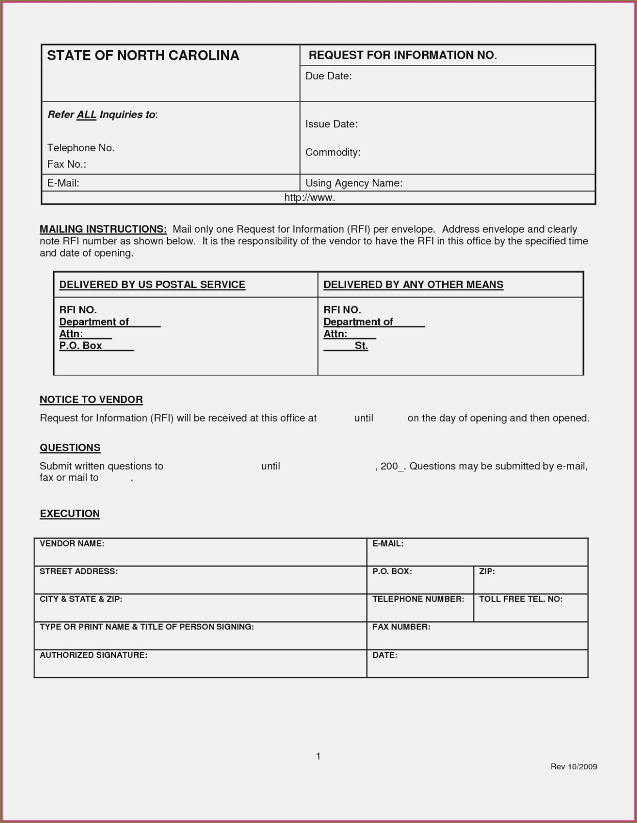 Construction Rfi Form Template