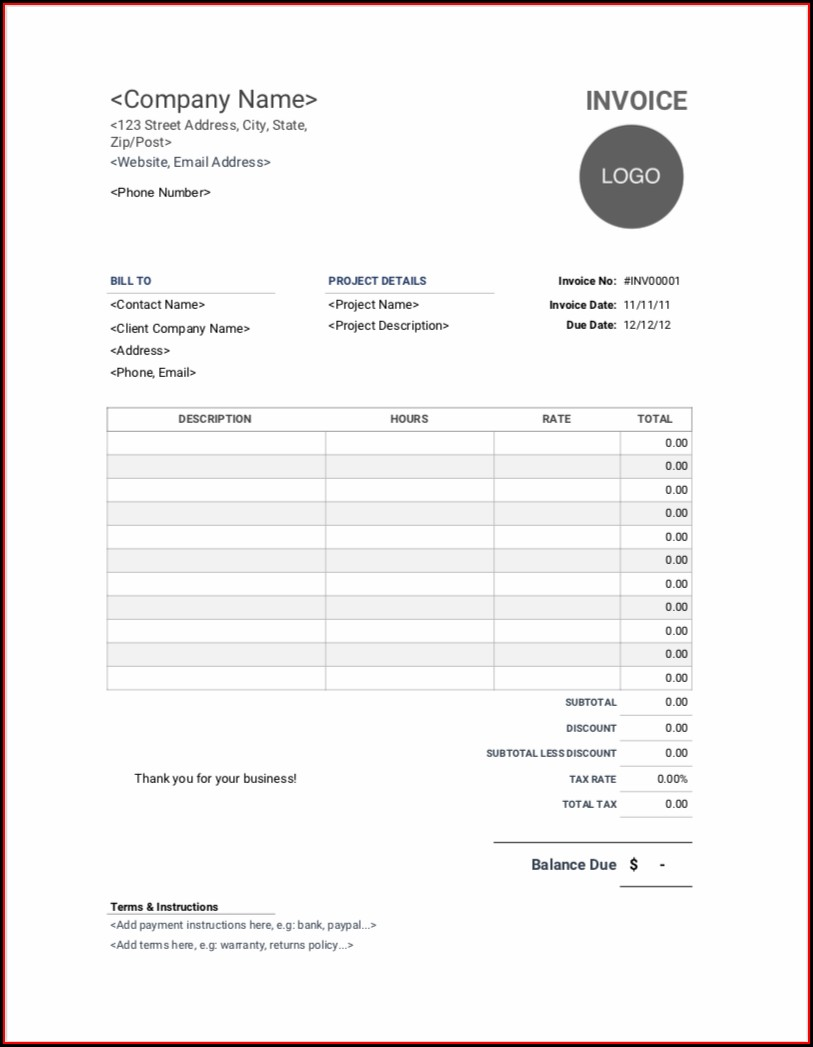 Consulting Invoice Templates Free