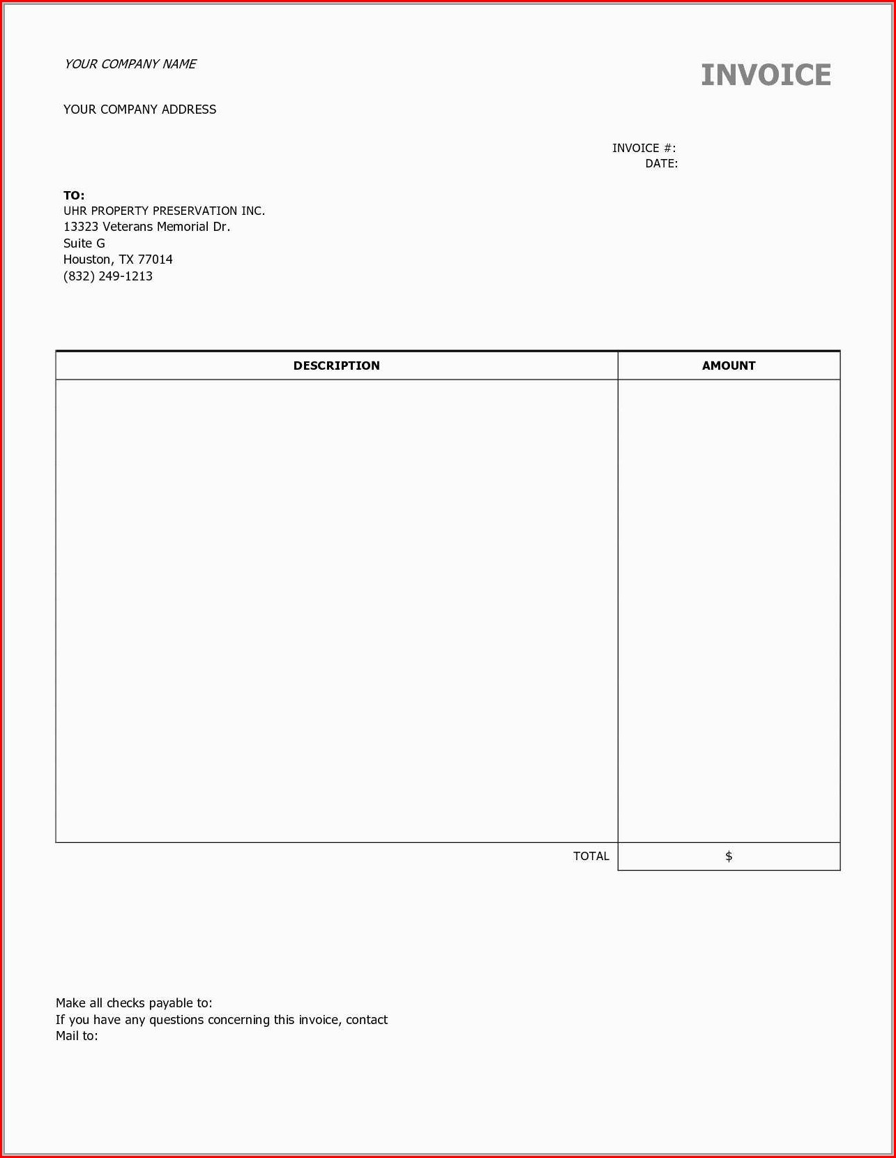 Contractor Printable Invoice Template Free