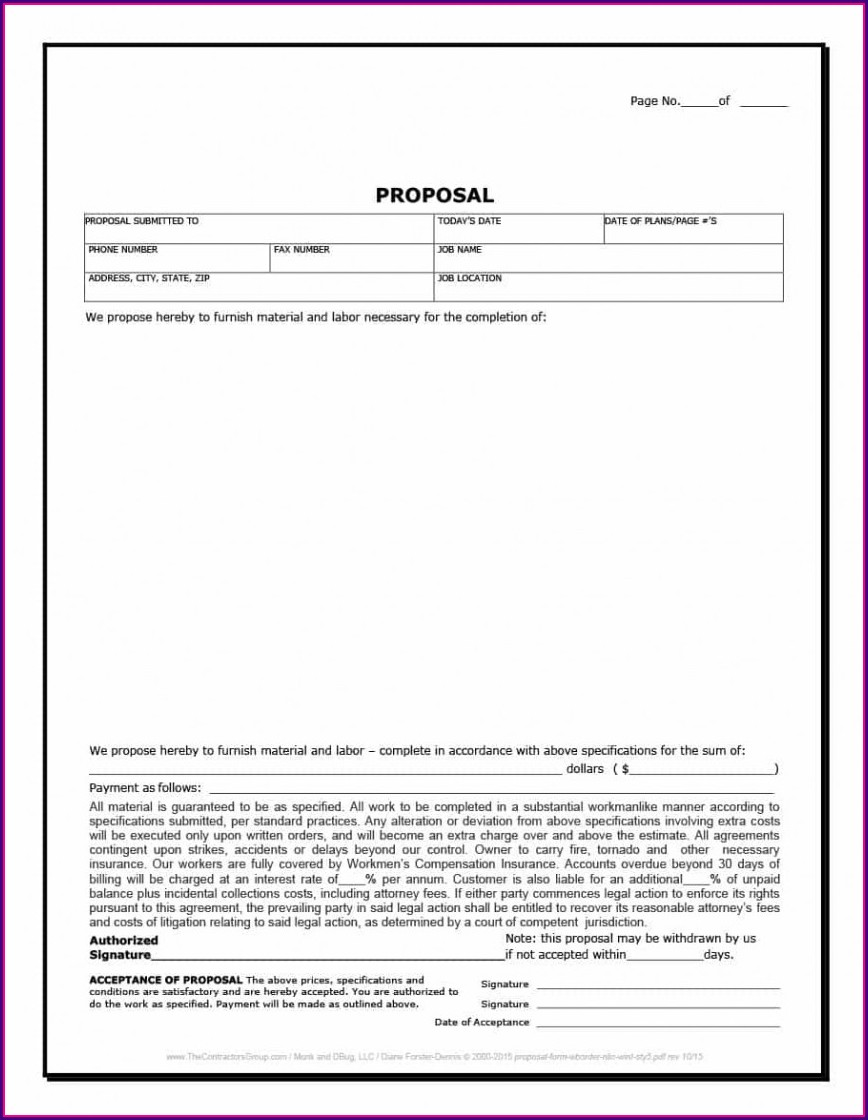 Contractor Proposal Template Word