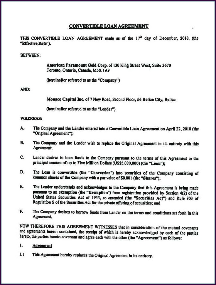 Convertible Loan Agreement Template