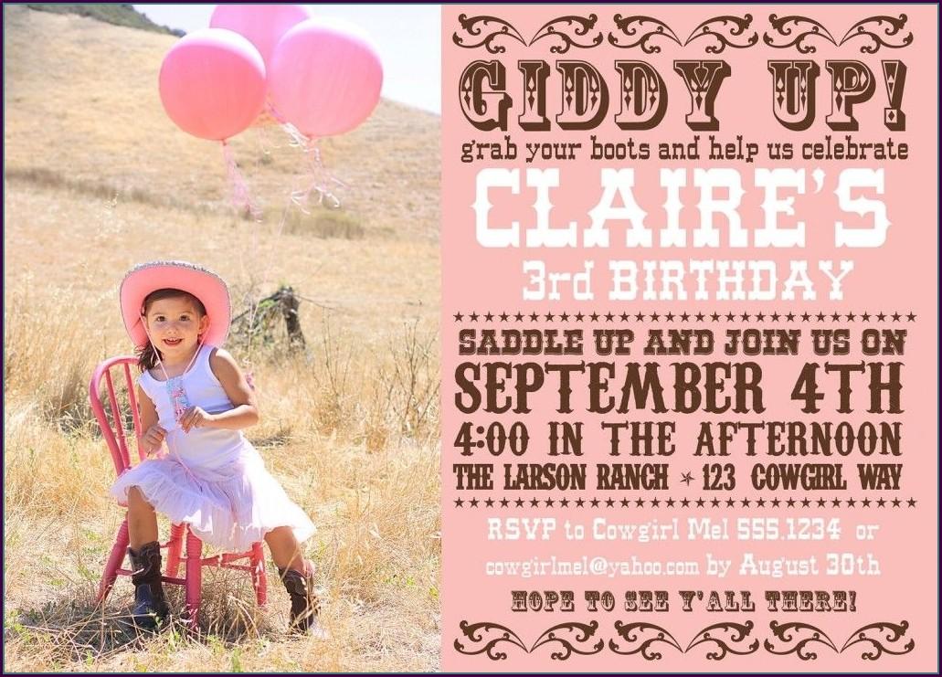 Cowgirl Invitation Template Free