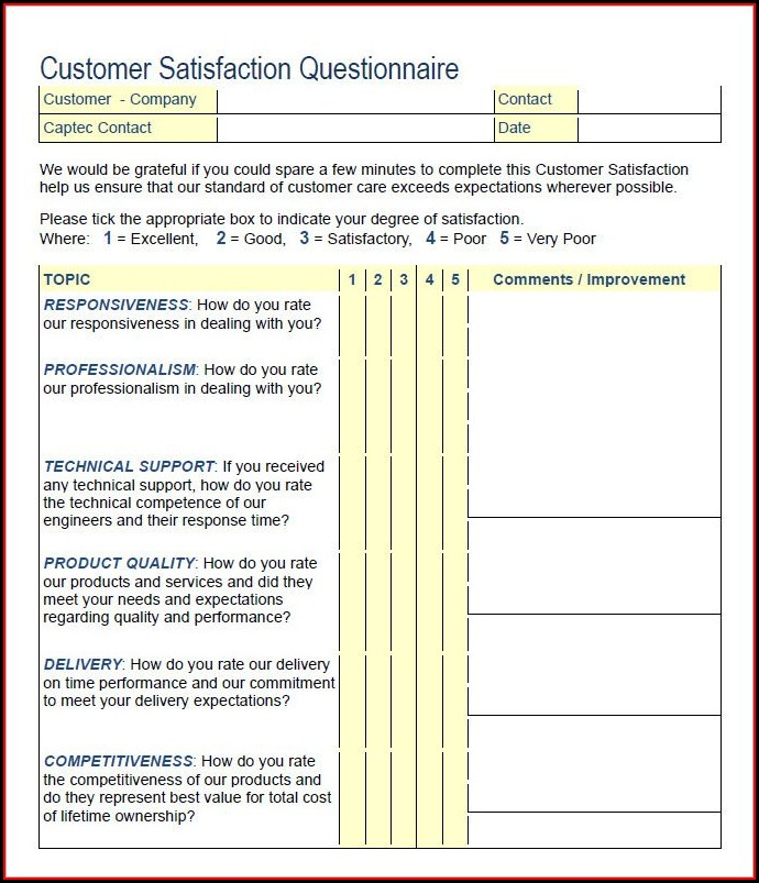 Customer Satisfaction Survey Templates Free