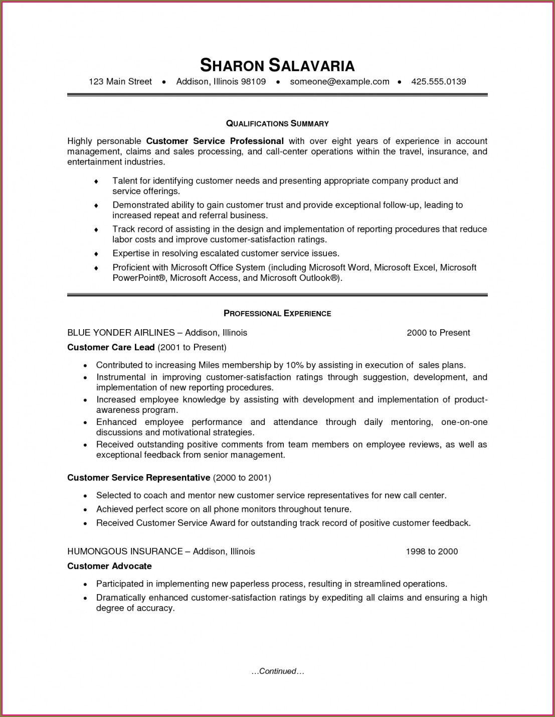 Customer Service Resumes Templates