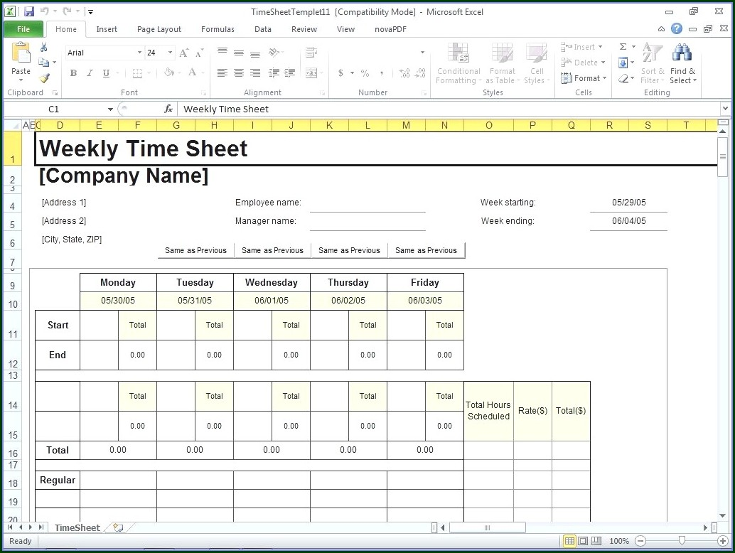 Daily Free Excel Timesheet Template Multiple Employees