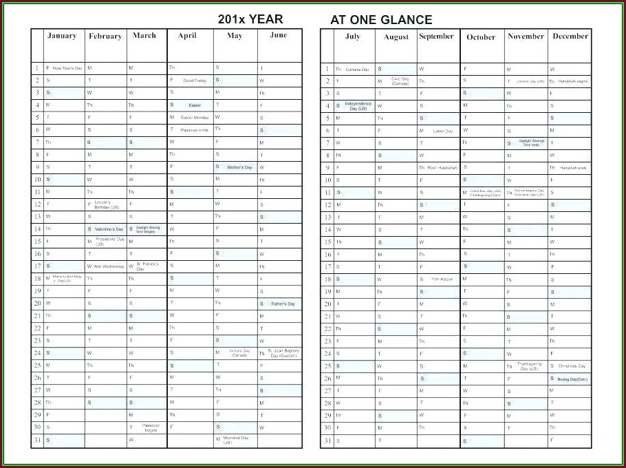 Day At A Glance Calendar Template